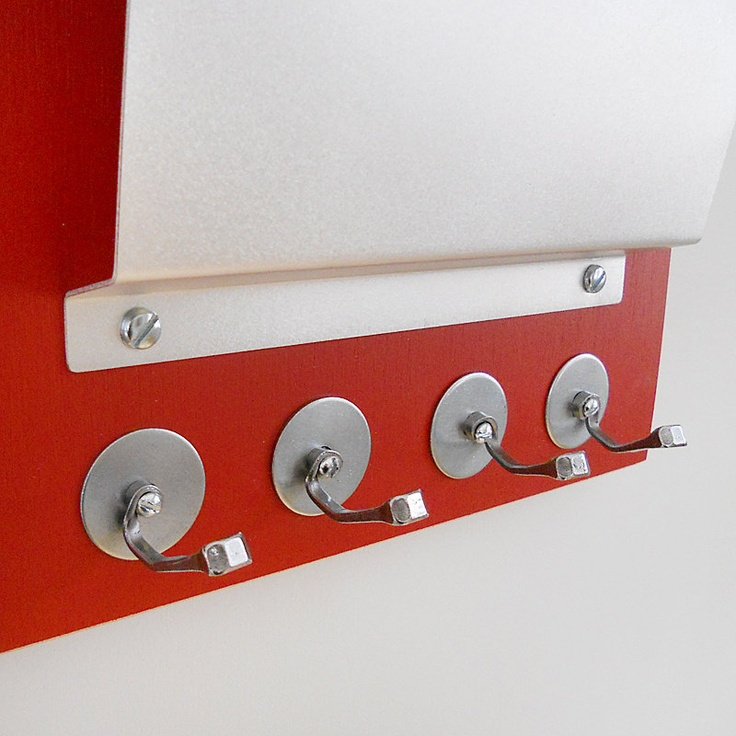 Lollipop red wall mount mail letter holder organizer key rack - Wall mounted letter holder and key rack ...