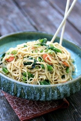 Undercover Caterer :: Cold Sesame Noodles with Mustard Greens