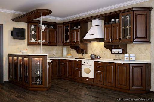 Dark wood cabinets - white appliances