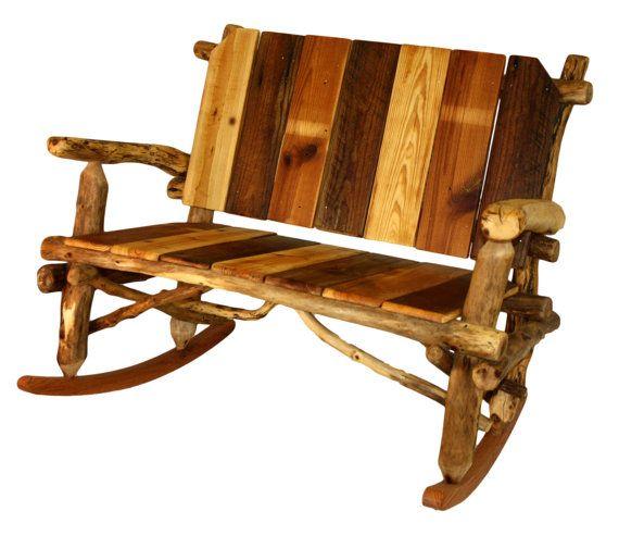Rustic furniture rocking bench rocking chair log rocking settee lo