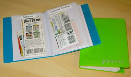 Repurpose photo albums for coupons. Reminds you of the coupons you have!