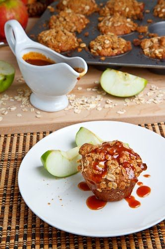 Cheesecake Stuffed Apple Muffins with Streusel Topping and Caramel Sa ...