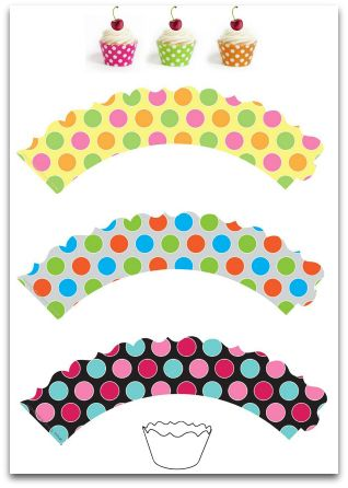 DOTS !!!                                            Free Printable Cupcake Wrappers