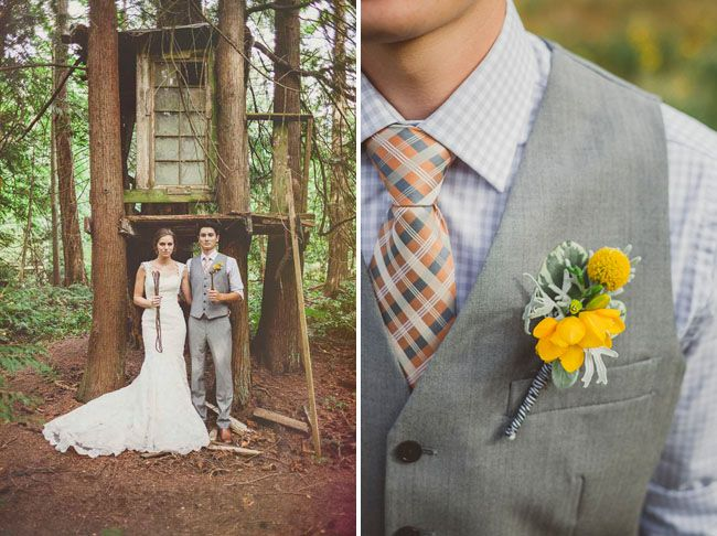 Boutonniere ideas for yellow and grey wedding