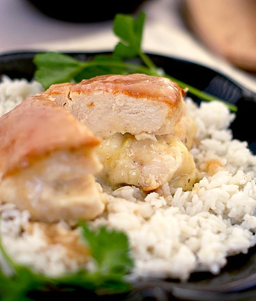 ... Oven to 350: Brie-Stuffed Chicken Breasts with Pear and Cider Sauce