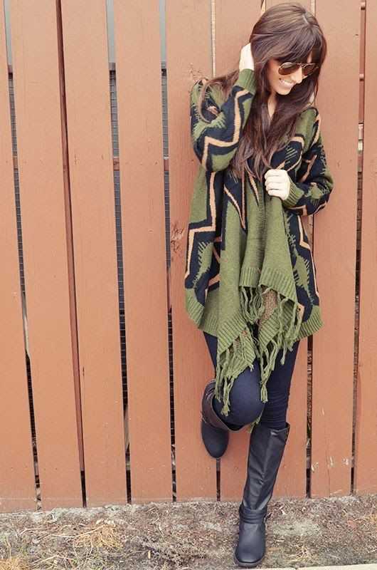 Dark Green Oversized Cardigan With Black Long Leather Boots