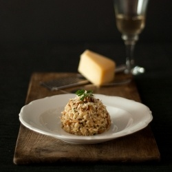 Creamy and delightful risotto with chanterelle mushrooms, Parmesan and ...