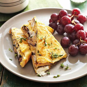 Pastel Omelet with Shiitake Mushrooms, Goat Cheese, and Fresh Herbs