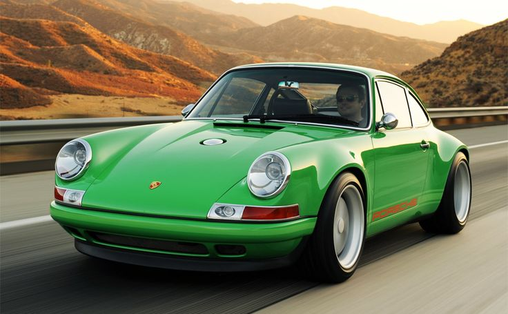 Singer Porsche 911, featuring all carbon fiber body work, a choice of three engines (ranging from 3.6 L to 3.9L with power range of 300-425 hp), a 5 speed Getrag G50 transmission, four piston Brembo calipers and drilled rotors, uprated Bilstein adjustable dampers and coil over springs, newly-developed, three-piece forged aluminum 17-inch wheels, a bespoke interior to match the retro exterior, and a classic Carrera RS steering wheel from 1973. Awesome.