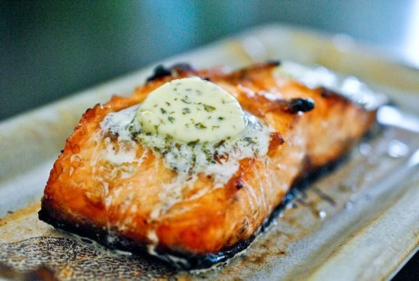 Grilled salmon with herbed meyer lemon butter :) DEE-LISH!