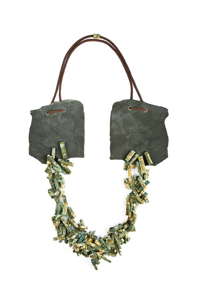 Magdalena Meng -  Necklace  Slate, Jasper, Silver, String