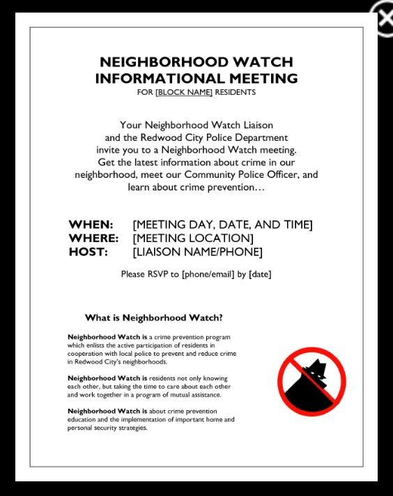 Neighbourhood Watch Letter Template