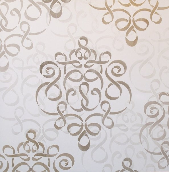 Wall Stencils Royal Design : Large ribbon damask stencil