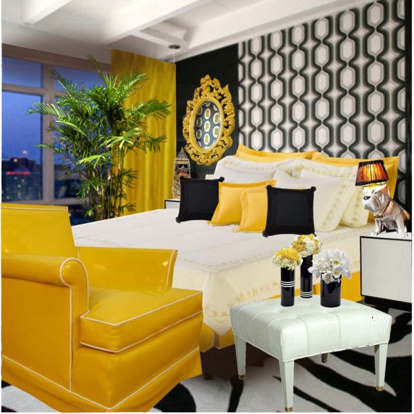 black white and yellow bedroom home goods pinterest