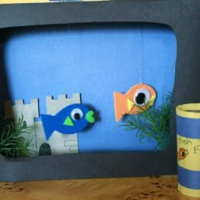 Fish tank craft cereal box and felt toddler crafts for Toddler fish tank