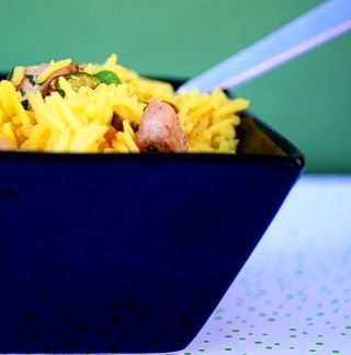 Chicken and basmati rice pilaf with saffron, pistachios and peas