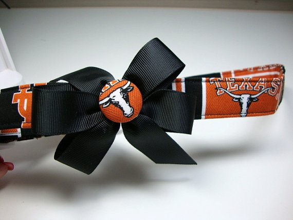 Texas Longhorns Dog Collar Large by KadysPetCouture on Etsy, $17.00