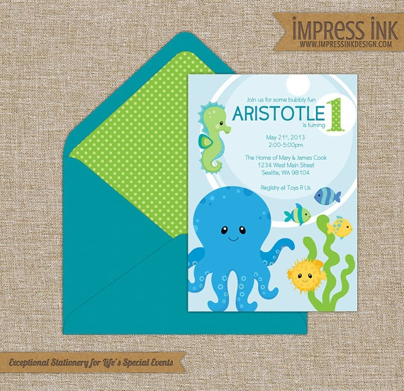 under the sea baby shower invitations or announcements with octopus