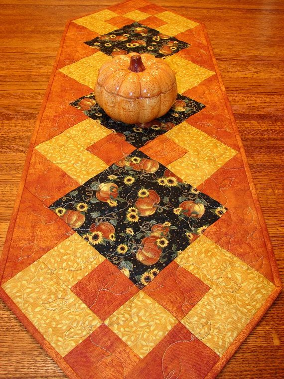 Autumn Fall Quilted Table Runner With Pumpkins And Sunflowers