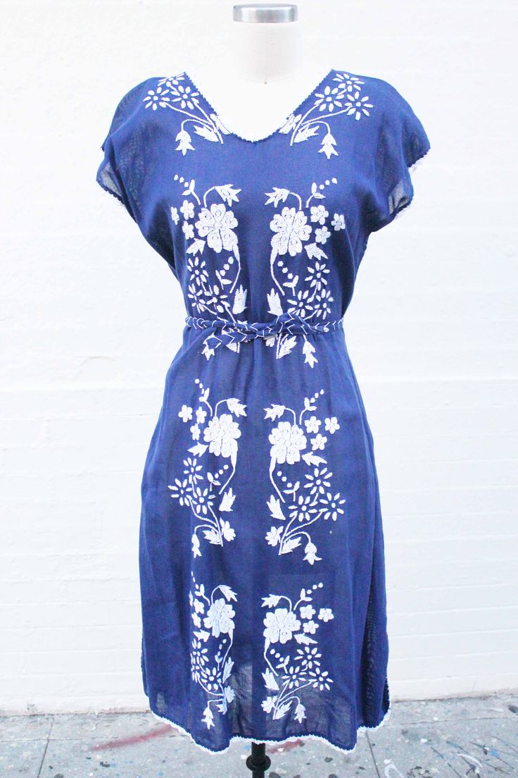 Vintage filipino shift dress in navy royal blue w