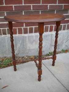 "Vintage Wooden Accent Table ""Half Moon"""