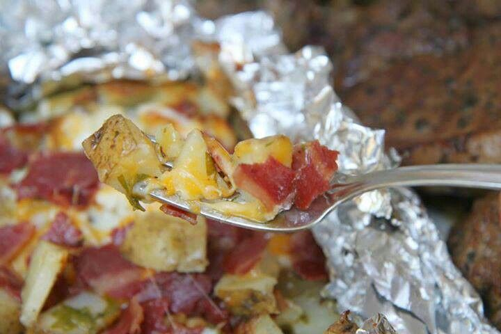 Three cheese baked potatoes | Recipes | Pinterest