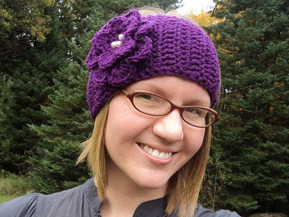 Crochet Head Wrap, Headband, Ear Warmer with Jeweled ...