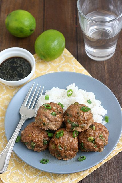 Asian Turkey Meatballs With Lime Sesame Dipping Sauce by Traceys ...