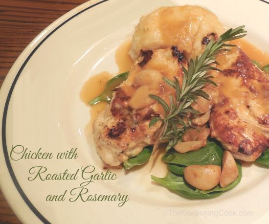 Chicken with Roasted Garlic Cloves, Mushrooms and Rosemary | Recipe