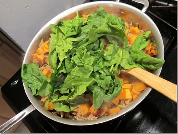 Curry sweet potatoes, beef and spinach. I added some coconut milk too ...