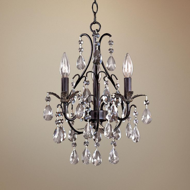 Castlewood walnut silver finish 3 light mini chandelier for Bathroom chandeliers