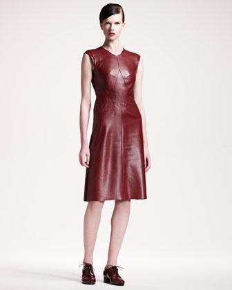 Seamed A-Line Leather Dress by Derek Lam.