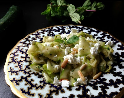 Nuts about food: Zucchini carpaccio with feta cheese, mint and toasted ...