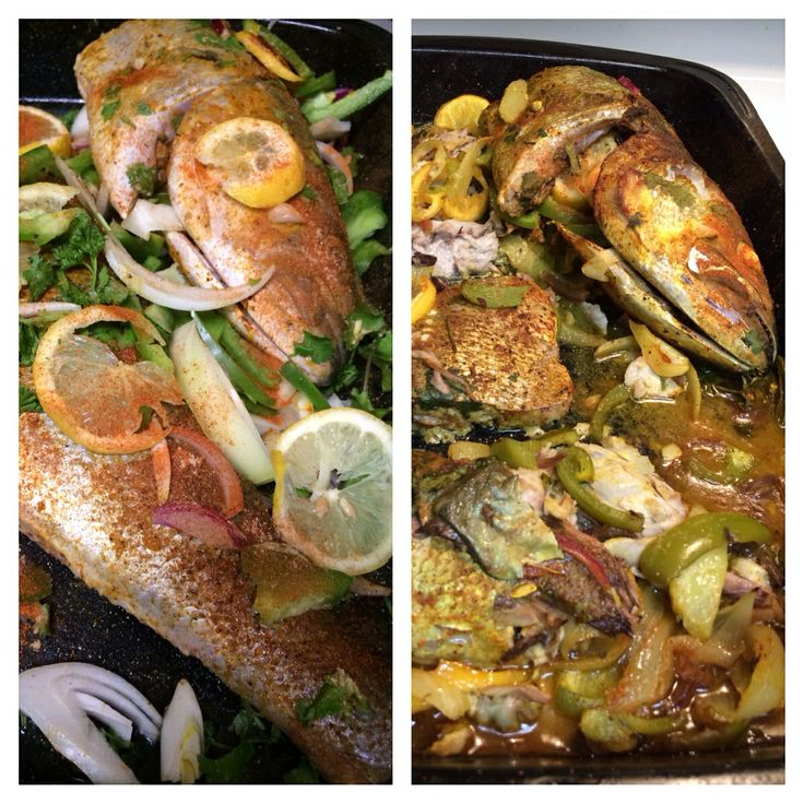 Baked Blue Fish with onions Green peppers lemon, fresh garlic ,parsley ...
