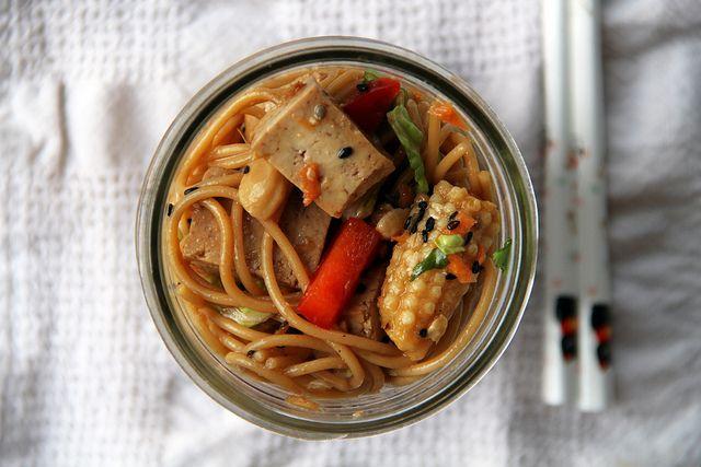 Sesame Noodle Salad with Ginger Tofu Cubes - Vegan, sub agave for ...