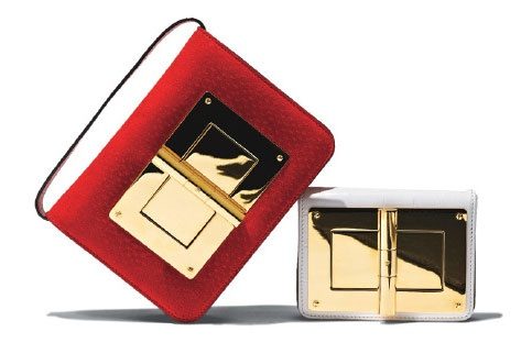 The inside of a lady's purse is the stuff of delicious secrets. Fortunately, the oversize hardware on these Tom Ford numbers is at once sleek distraction and elegant padlock.