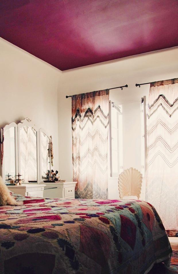 Plum painted ceiling. Boho Glam abode / Justina Blakeney