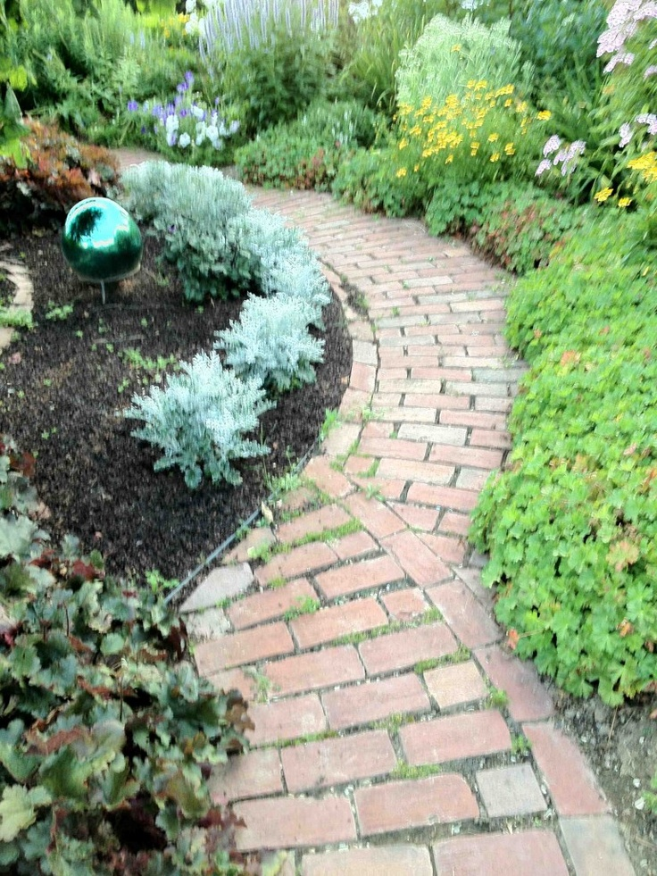Brick path garden pinterest for Garden path designs