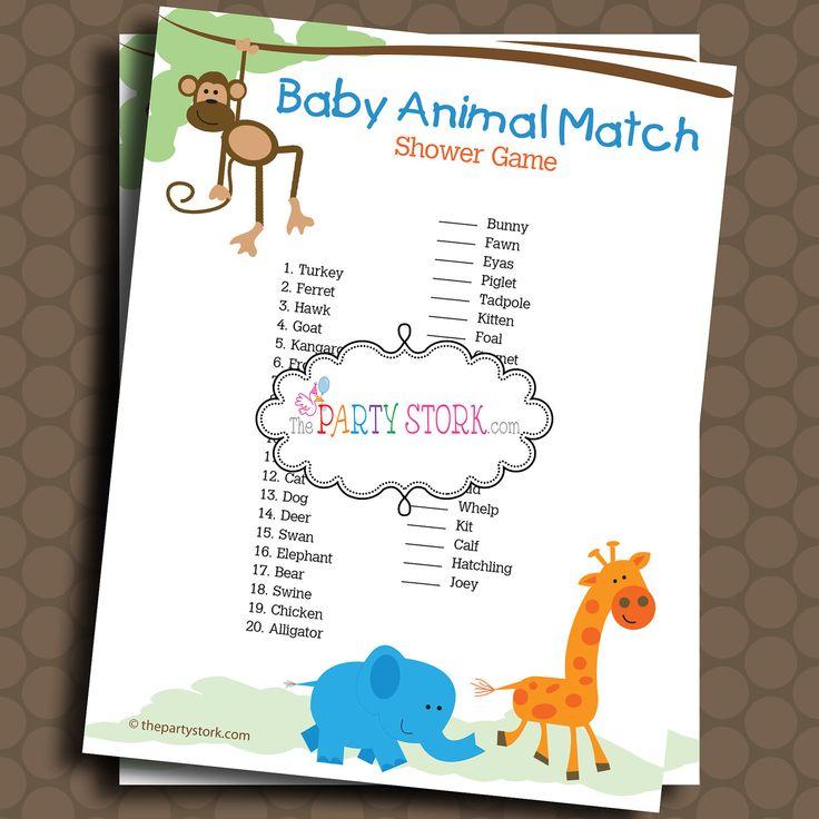 safari baby shower game baby animal match jungle theme over 100 ga