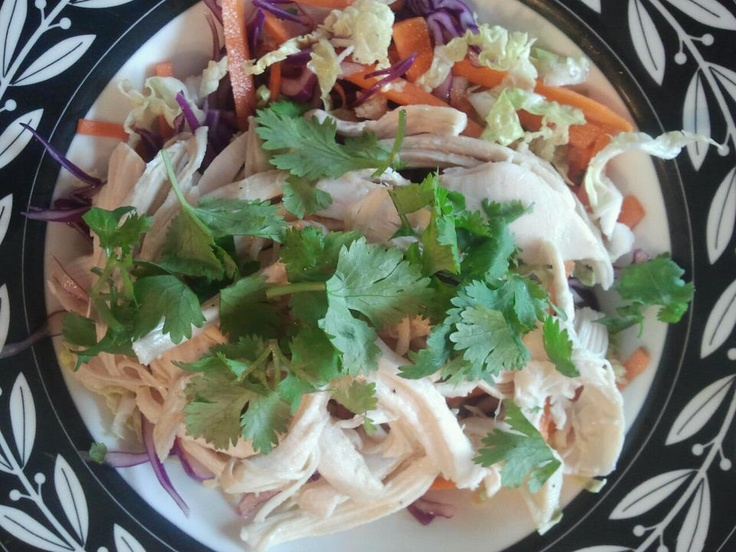 Asian-inspired chicken salad with carrot, red cabbage, nappa cabbage ...