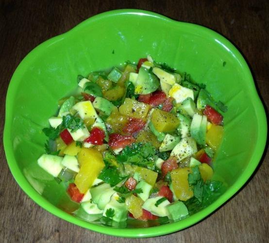 Avocado Peach Mango Salsa- 1/2 avocado, 1/2 cup mixed peaches & mango ...