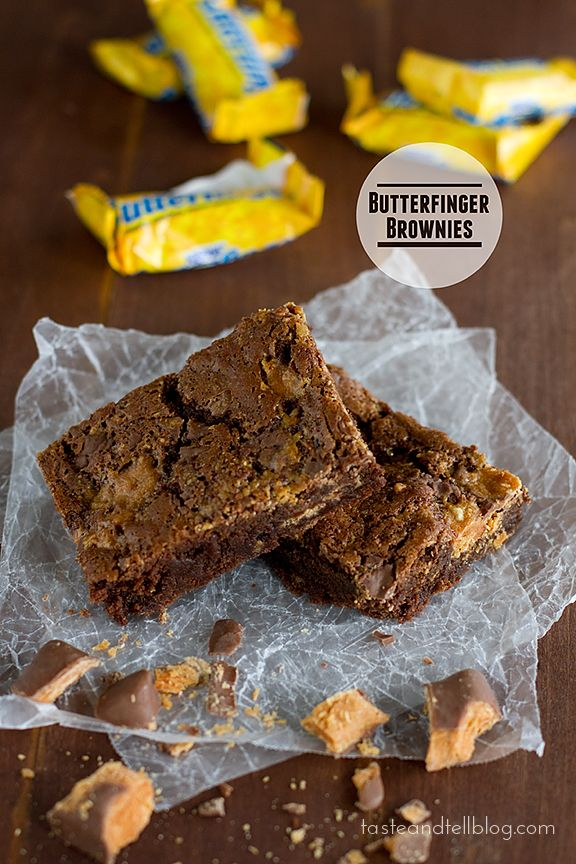Butterfinger Brownies | www.tasteandtellblog.com