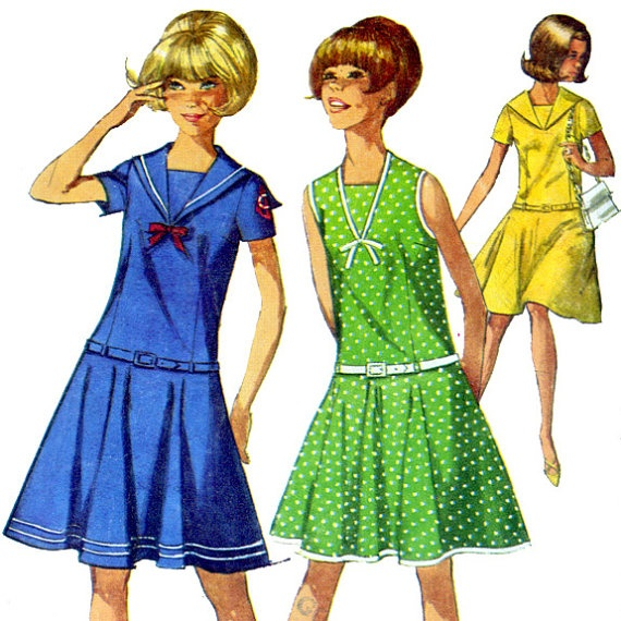 60's dress sewing pattern  I remember my version having long sleeves...at 13, I made it in a golden yellow with small red flowers (maybe) that at a distance looked like polka dots. The catalog had shown it in orange with large white polka dots and I loved the look of it.