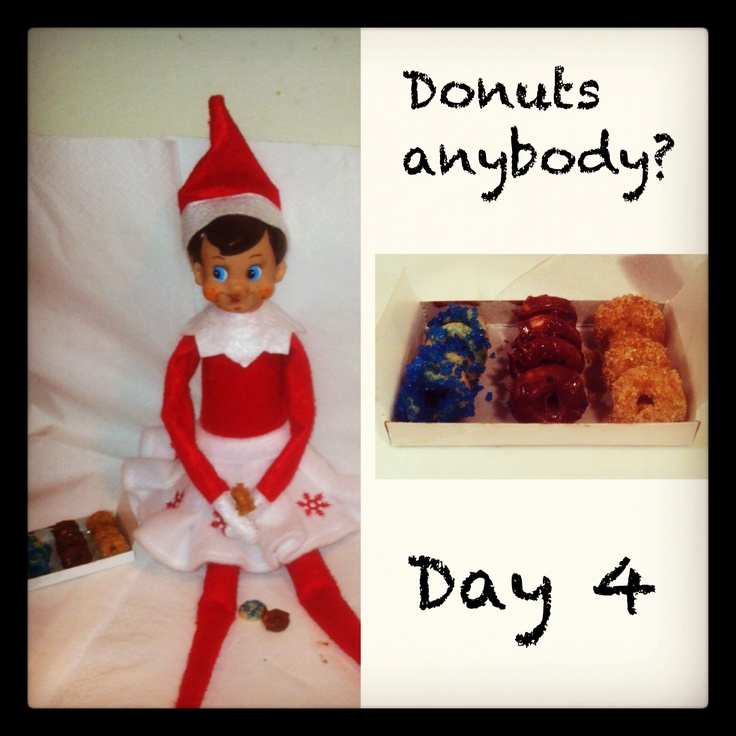 Elf on the shelf donuts made from Cheerios.