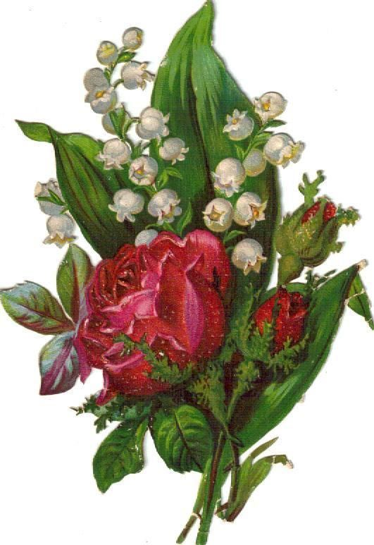 Larger Victorian Die Cut Scraps Roses LOV's c1880s picclick.com