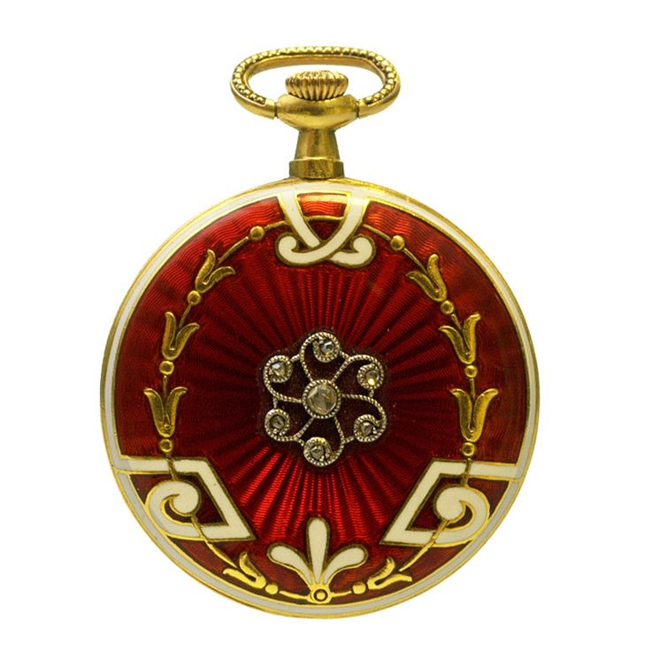 18k Yellow Gold, Enamel And Diamond Pendant Watch - Switzerland   c.1910  - 1stdibs.com
