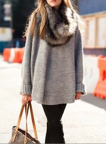 Perfect fur scarf ♥  w/ gray cozy sweater leggings and Tall black boots