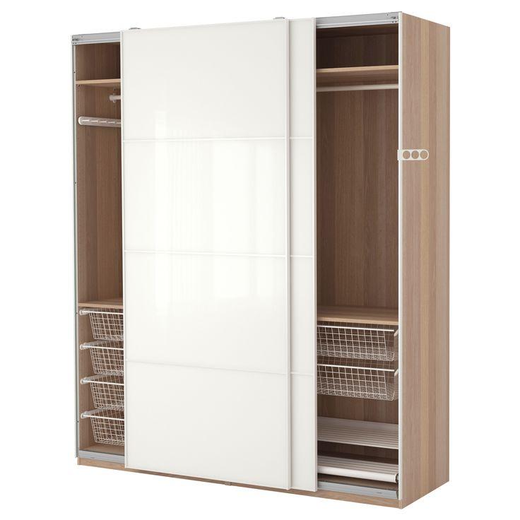 Ikea Französisches Hochbett ~ PAX Wardrobe, white stained oak effect, Färvik white glass