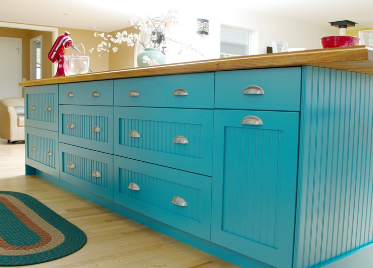 LOVE LOVE LOVE Teal Blue Contemporary Cottage Kitchen Island with