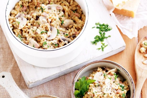 Prosciutto, mushroom and barley risotto | FOOD | Pinterest